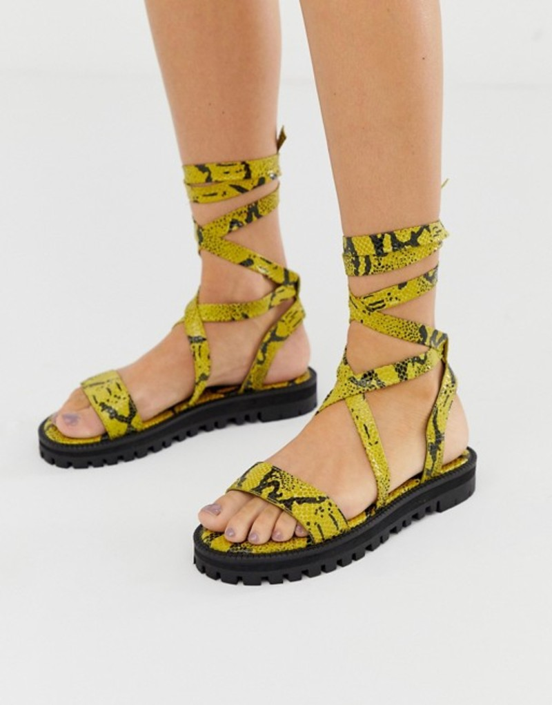 エイソス レディース サンダル シューズ ASOS DESIGN Faster leather chunky tie leg sandals in yellow snake Yellow snake