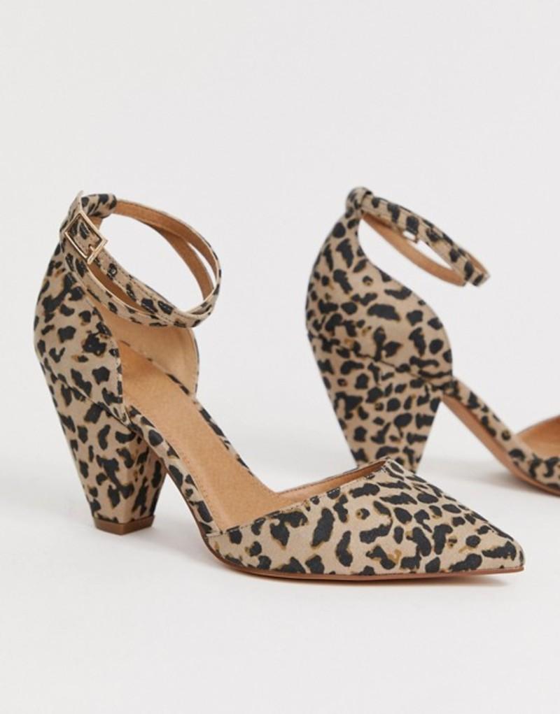 エイソス レディース ヒール シューズ ASOS DESIGN Speakeasy pointed mid heels in leopard print Leopard