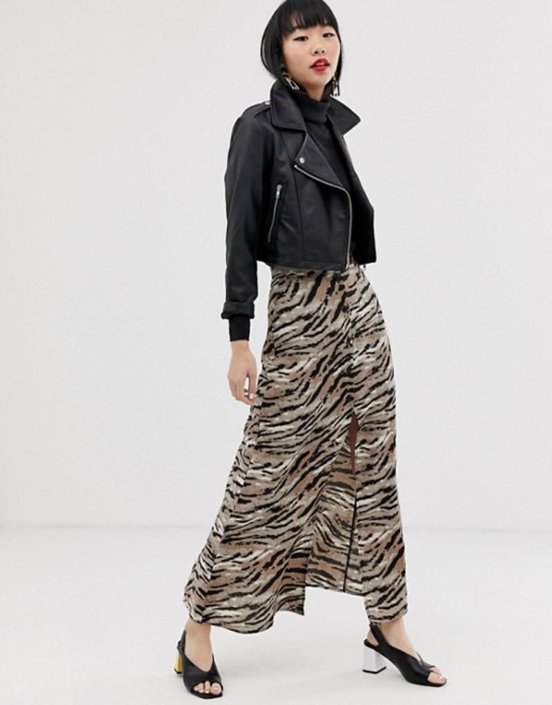 エイソス レディース スカート ボトムス ASOS DESIGN button front maxi skirt in tiger print Tiger print