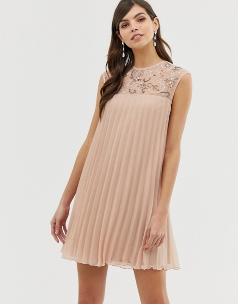 エイソス レディース ワンピース トップス ASOS DESIGN sleeveless trapeze pleated mini swing dress with embellished yoke Blush