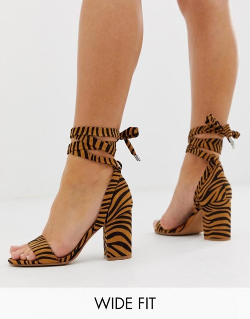 エイソス レディース ヒール シューズ ASOS DESIGN Wide Fit Howling tie leg block heeled sandals In tiger. Tiger print