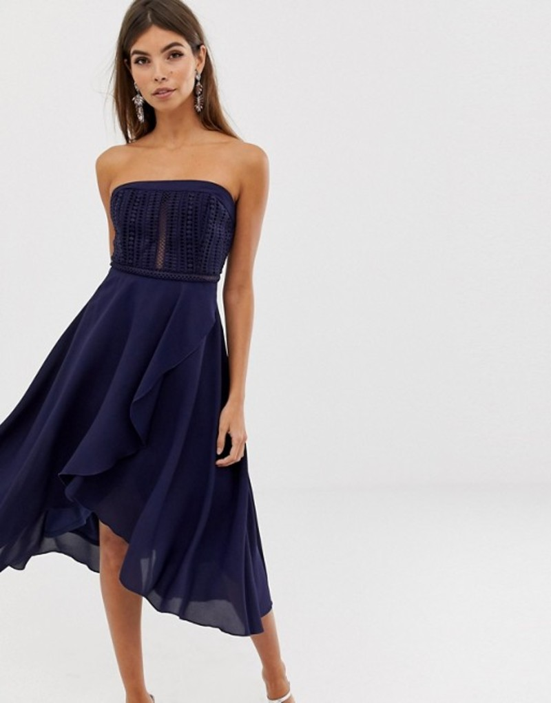 エイソス レディース ワンピース トップス ASOS DESIGN bandeau lace bodice soft layered skirt midi dress Navy