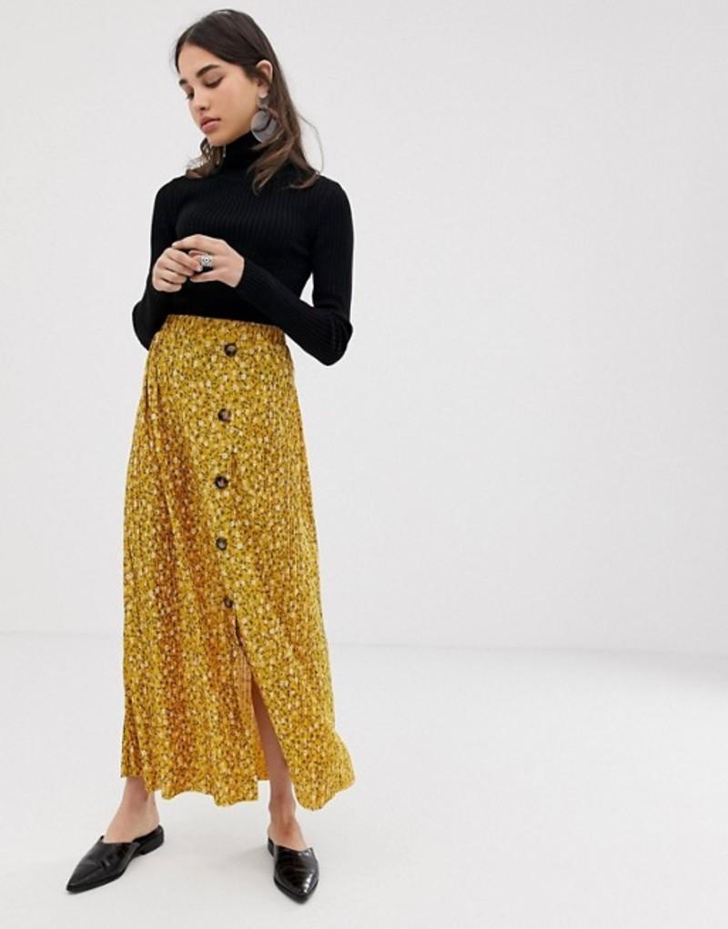 エイソス レディース スカート ボトムス ASOS DESIGN plisse maxi skirt in ditsy floral with button front Mustard floral