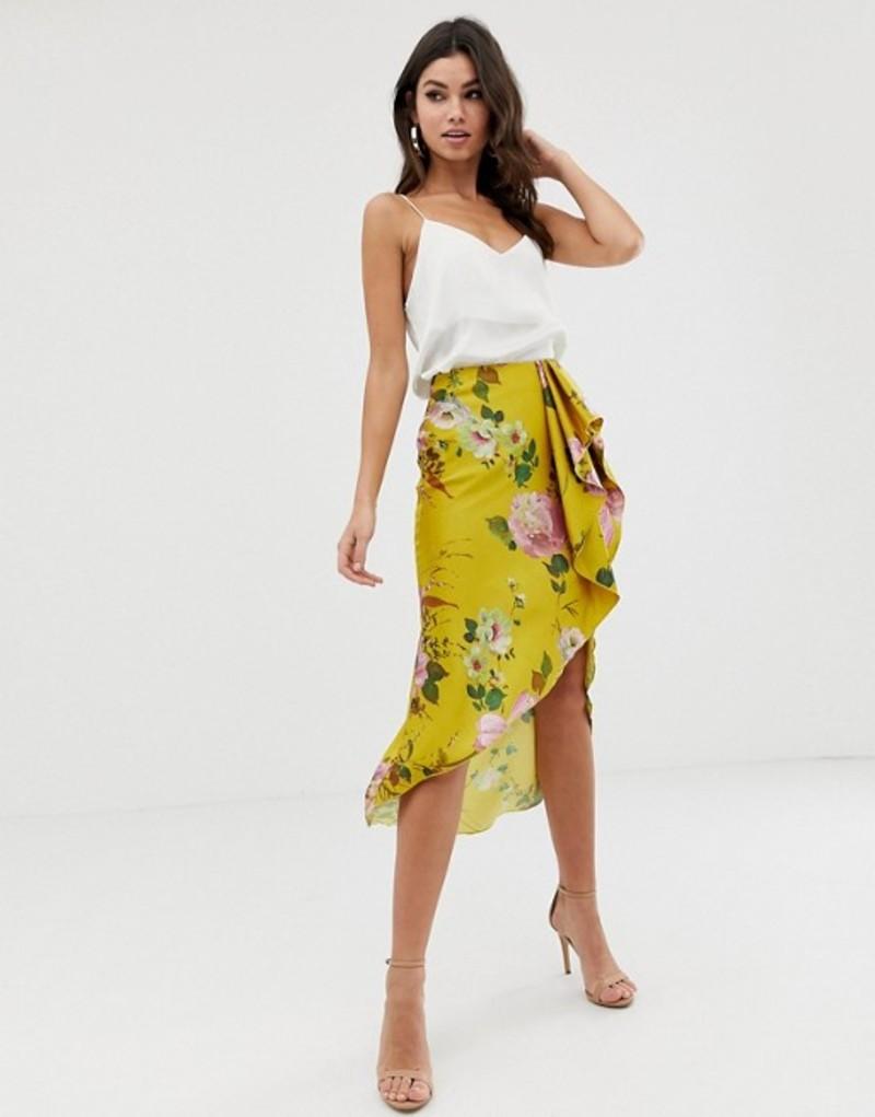 エイソス レディース スカート ボトムス ASOS DESIGN satin midi skirt with waterfall front in yellow floral print Yellow floral