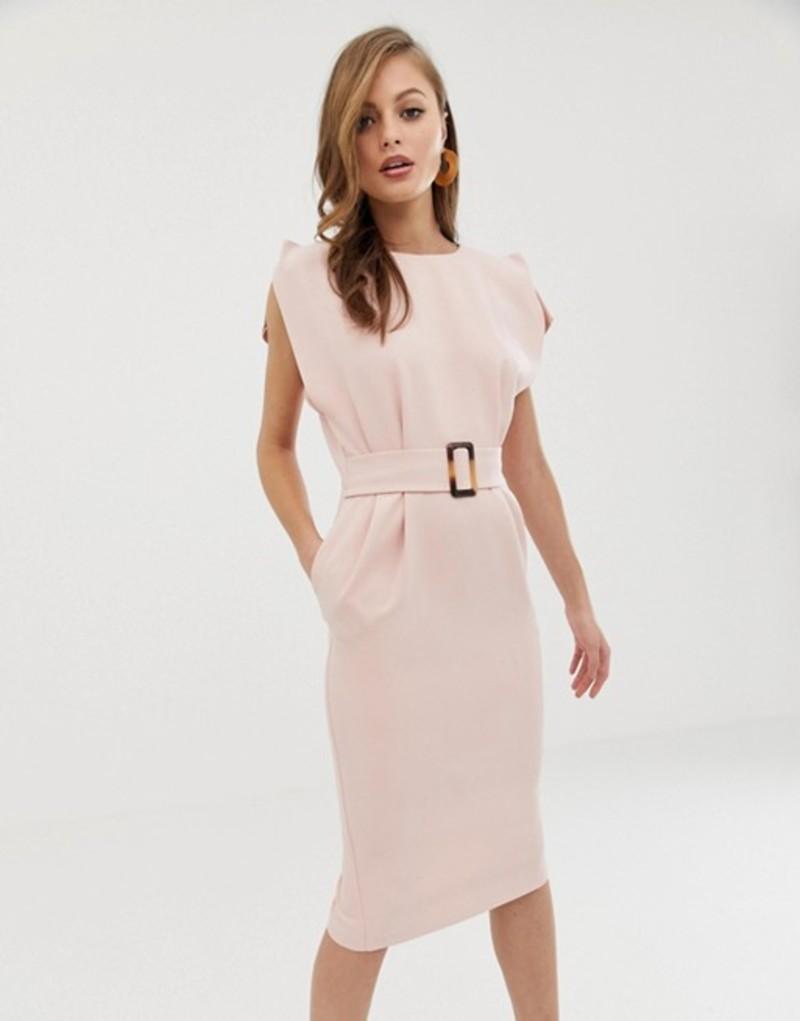 エイソス レディース ワンピース トップス ASOS DESIGN split cap sleeve midi pencil dress with buckle Blush