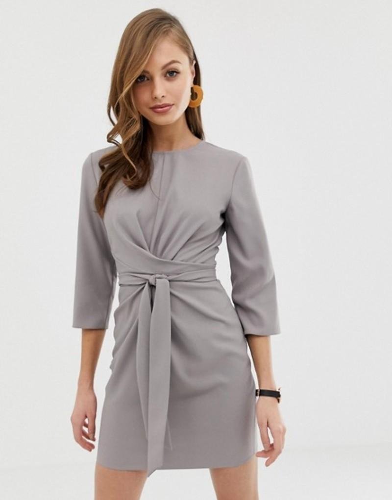 エイソス レディース ワンピース トップス ASOS DESIGN tie wrap around mini dress Taupe