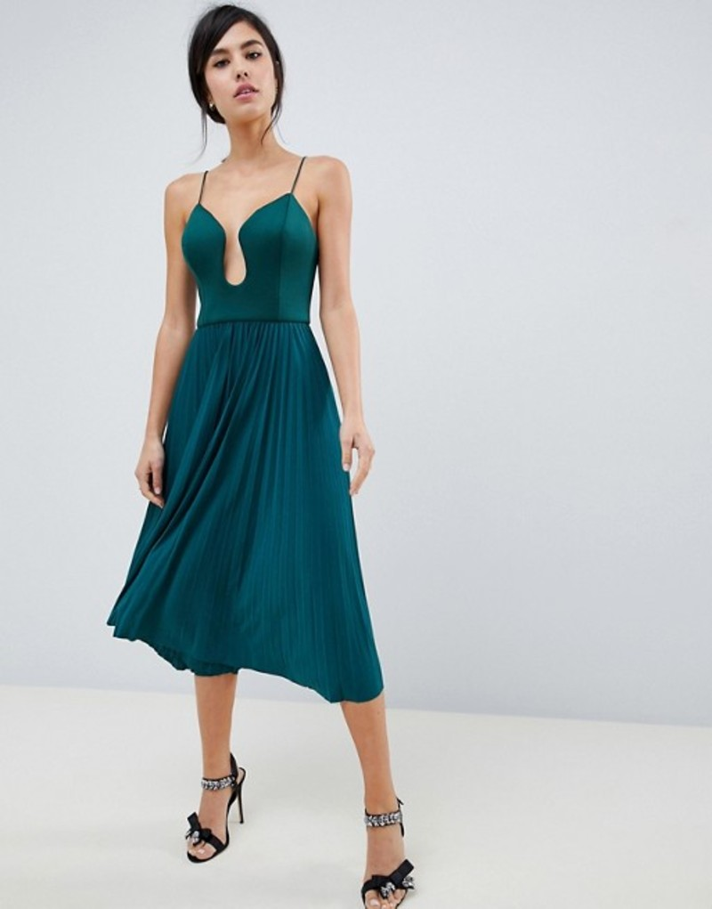 エイソス レディース ワンピース トップス ASOS DESIGN scuba u bar pleated midi dress Forest green