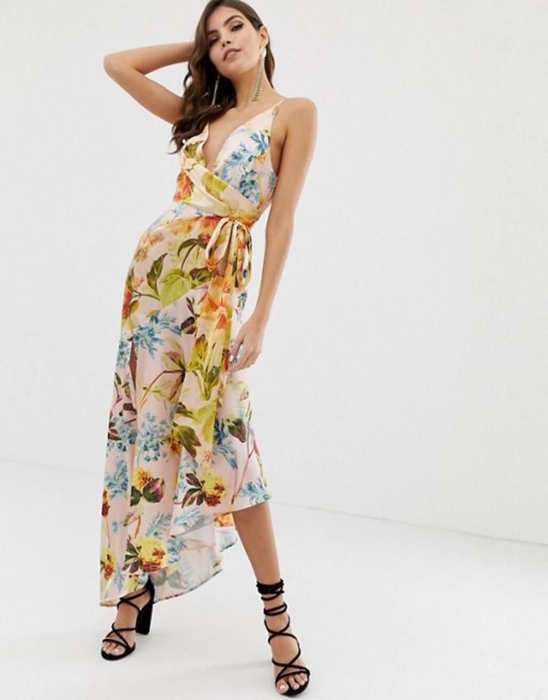 エイソス レディース ワンピース トップス ASOS DESIGN cami maxi dress with ruched waist in mixed floral print Floral print