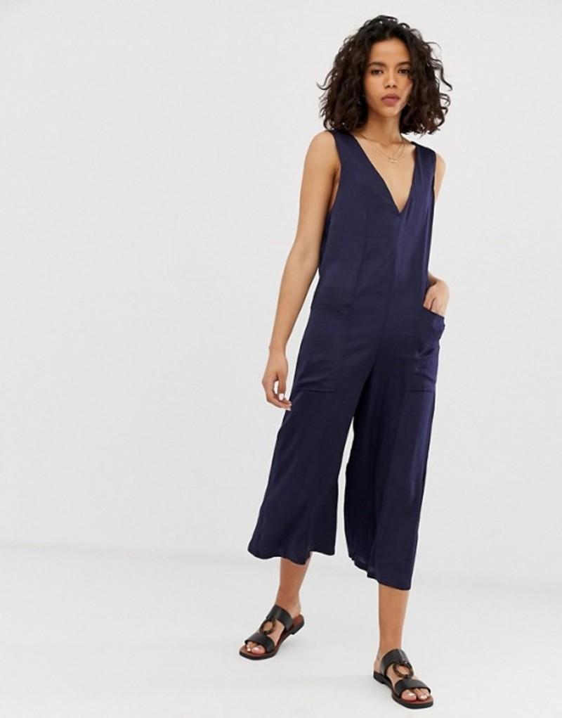 エイソス レディース ワンピース トップス ASOS DESIGN sleeveless v neck minimal jumpsuit with pockets Navy