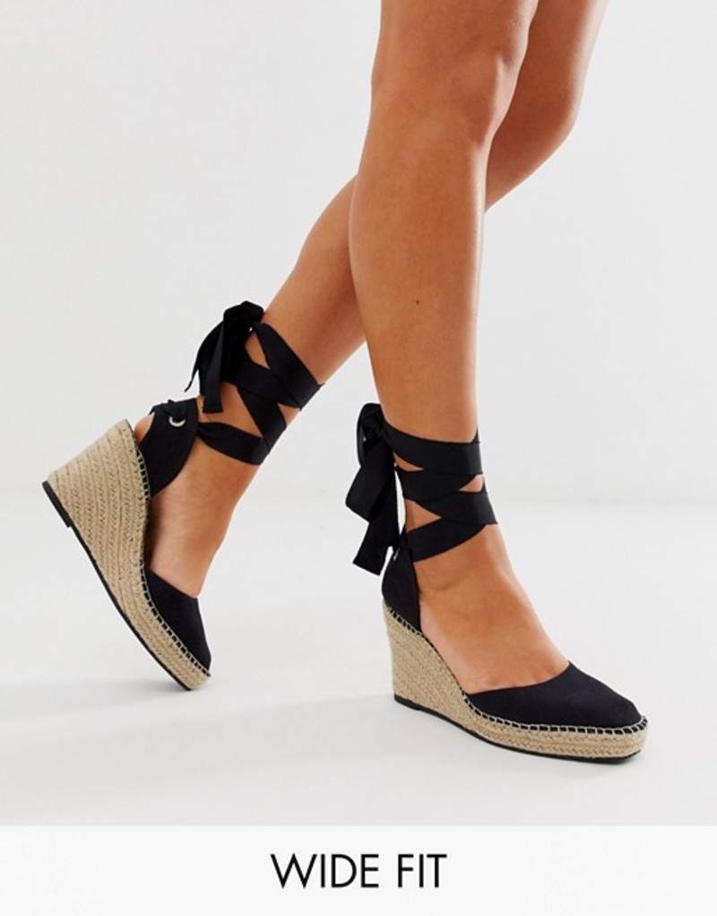 エイソス レディース サンダル シューズ ASOS DESIGN Wide Fit Jaylen espadrille wedges in black Black
