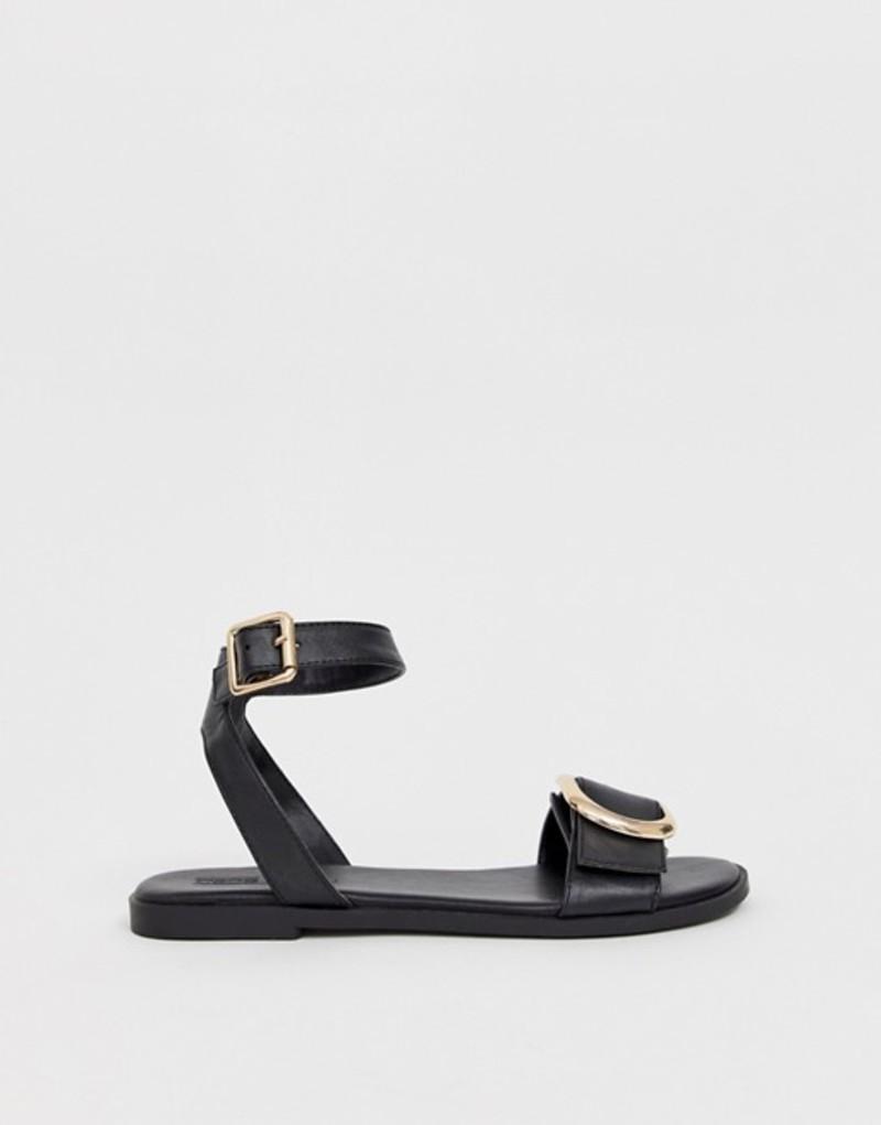 エイソス レディース サンダル シューズ ASOS DESIGN Flora flat sandals in black Black