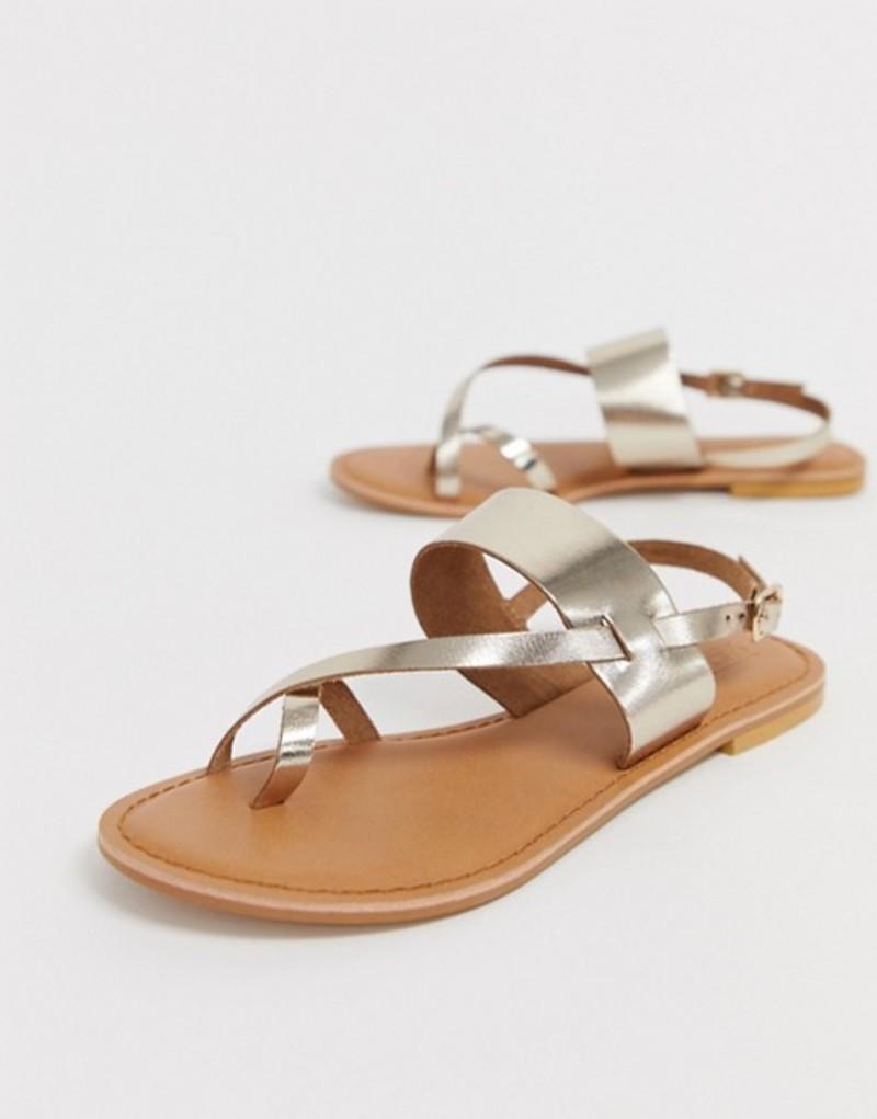 エイソス レディース サンダル シューズ ASOS DESIGN Flisse leather flat sandals Gold