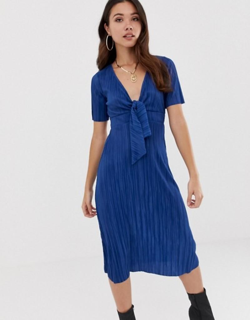 エイソス レディース ワンピース トップス ASOS DESIGN plisse tea dress Blue
