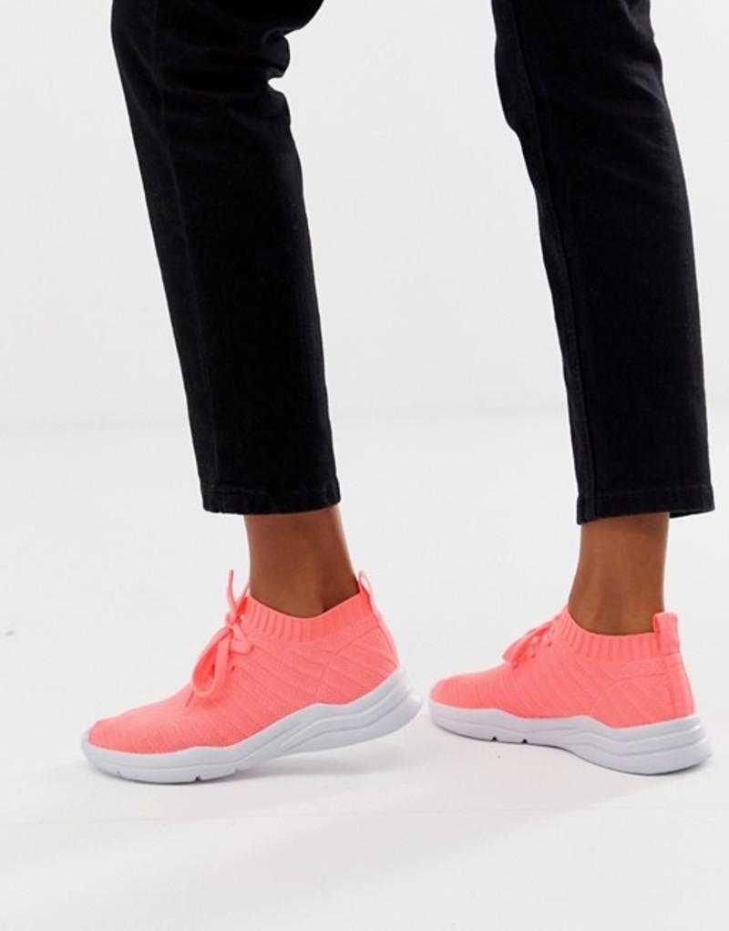 エイソス レディース スニーカー シューズ ASOS DESIGN Discus sneakers Coral knit