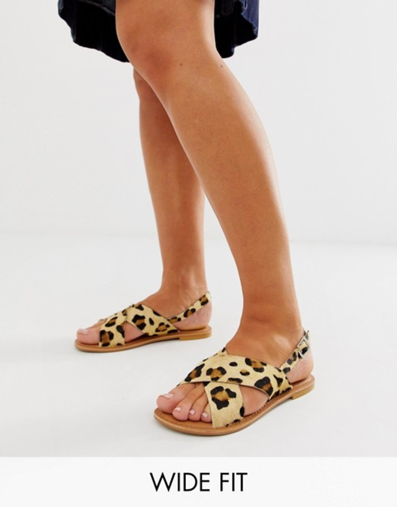 エイソス レディース サンダル シューズ ASOS DESIGN Wide Fit Valid leather cross strap flat sandals in leopard Leopard