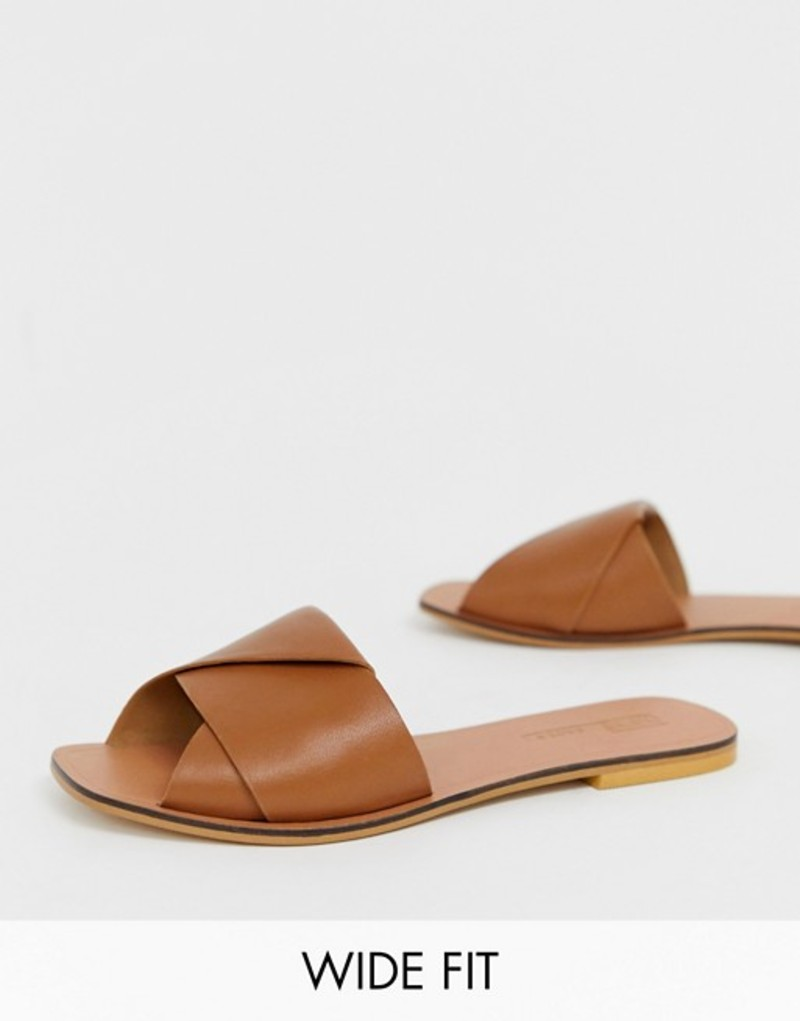 エイソス レディース サンダル シューズ ASOS DESIGN Wide Fit Favoured leather flat sandals Tan