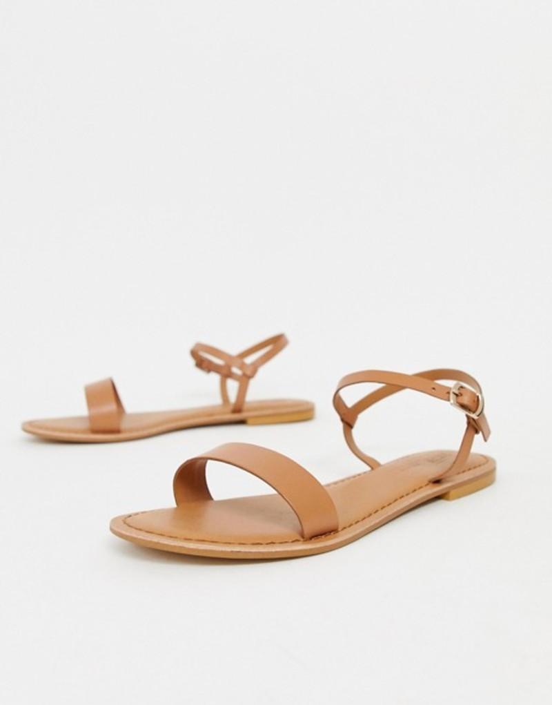 エイソス レディース サンダル シューズ ASOS DESIGN Flume leather flat sandals Tan