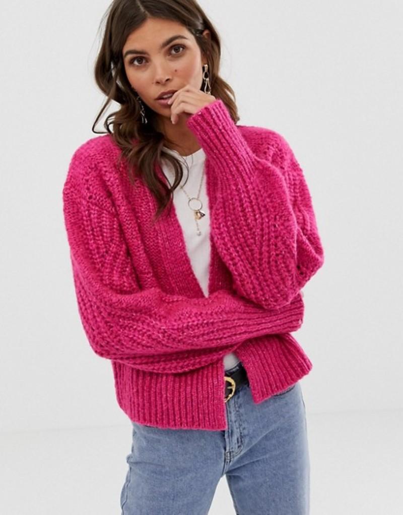 エイソス レディース カーディガン アウター ASOS DESIGN chunky volume sleeve cardigan with stitch detail Pink