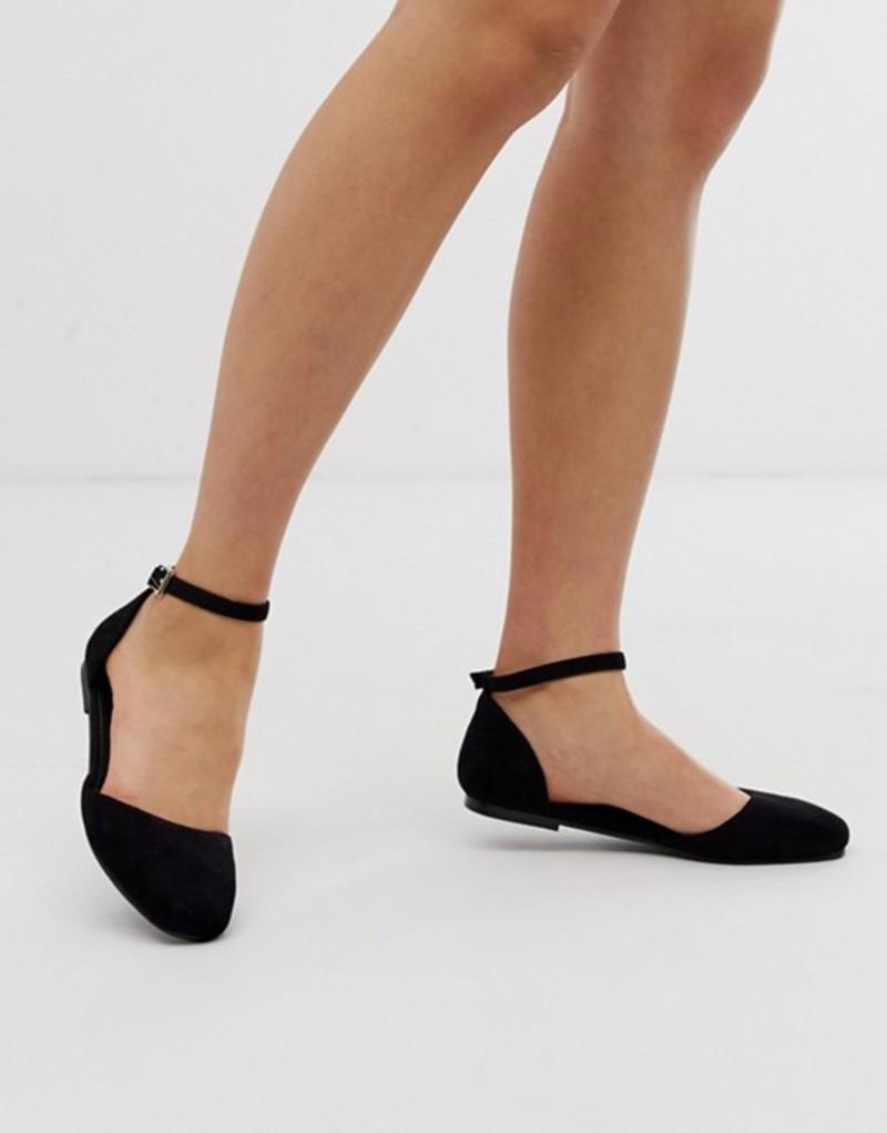 エイソス レディース パンプス シューズ ASOS DESIGN Linton square toe ballet flats Black