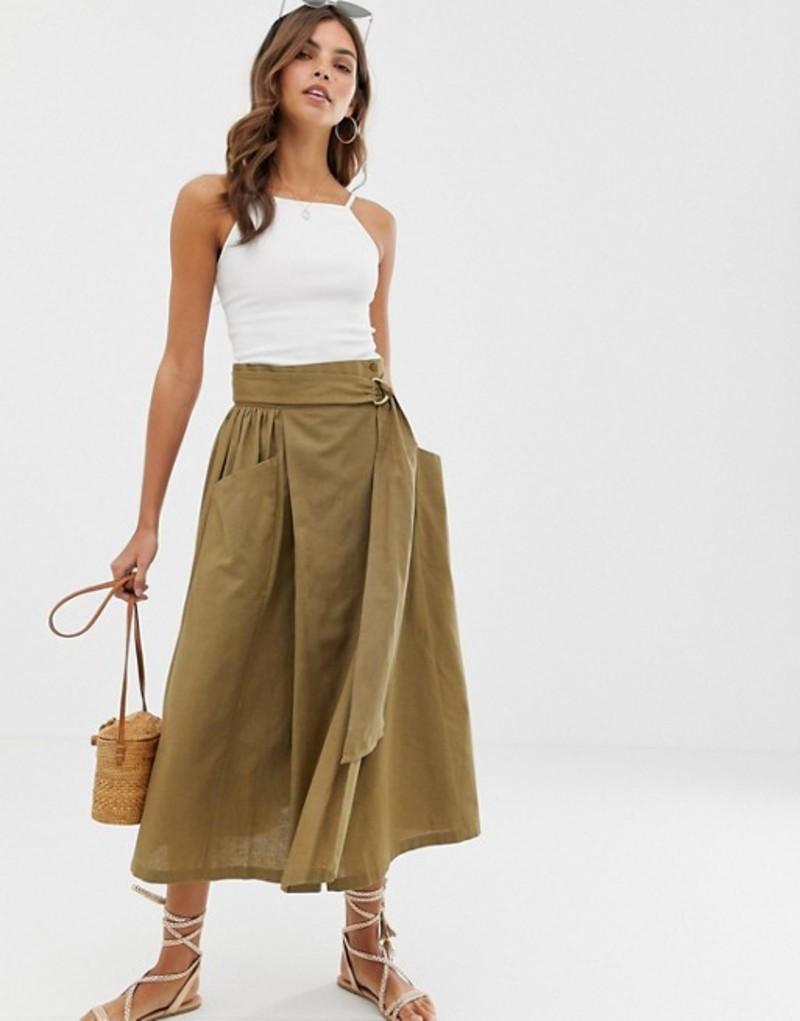 エイソス レディース スカート ボトムス ASOS DESIGN wrap midi skirt with D-ring and pockets Khaki