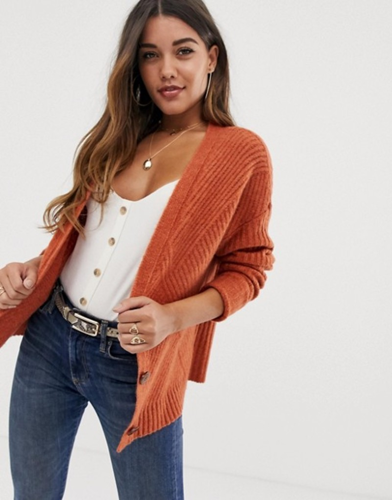エイソス レディース カーディガン アウター ASOS DESIGN chunky cardigan in moving rib with statement button Cinnamon