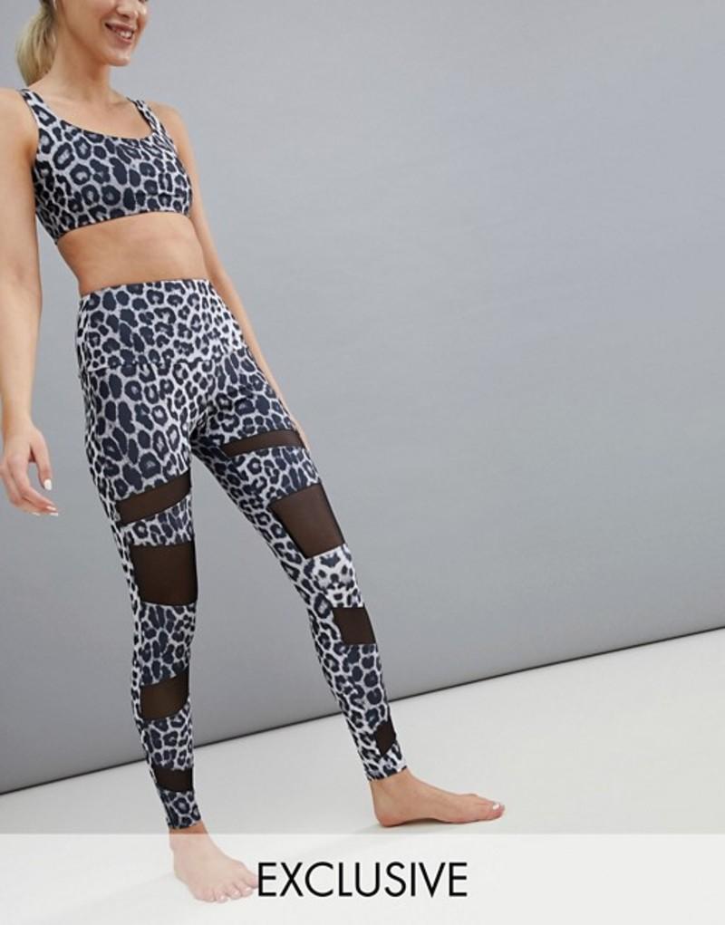 オンジー レディース レギンス ボトムス Onzie Exclusive To ASOS Leopard Print Mesh Panel Yoga Leggings Multi