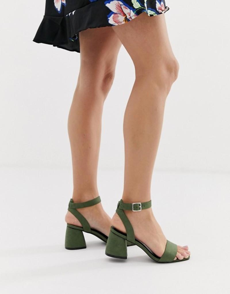 グラマラス レディース ヒール シューズ Glamorous green block heel sandals Green