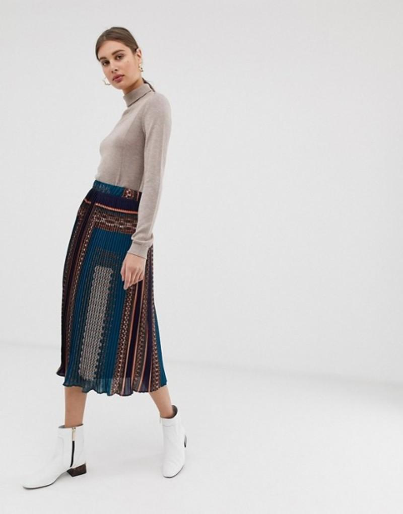 ピーシーズ レディース スカート ボトムス Pieces scarf print pleated midi skirt Multi