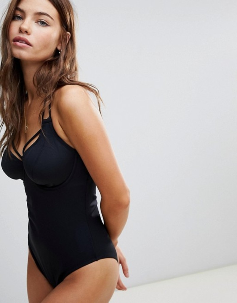 ポアモア レディース 上下セット 水着 Pour Moi Beach Bound underwired triangle halter swimsuit Black