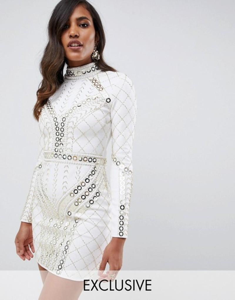 スターレット レディース ワンピース トップス Starlet all over contrast embellished pencil dress in white and gold White/gold