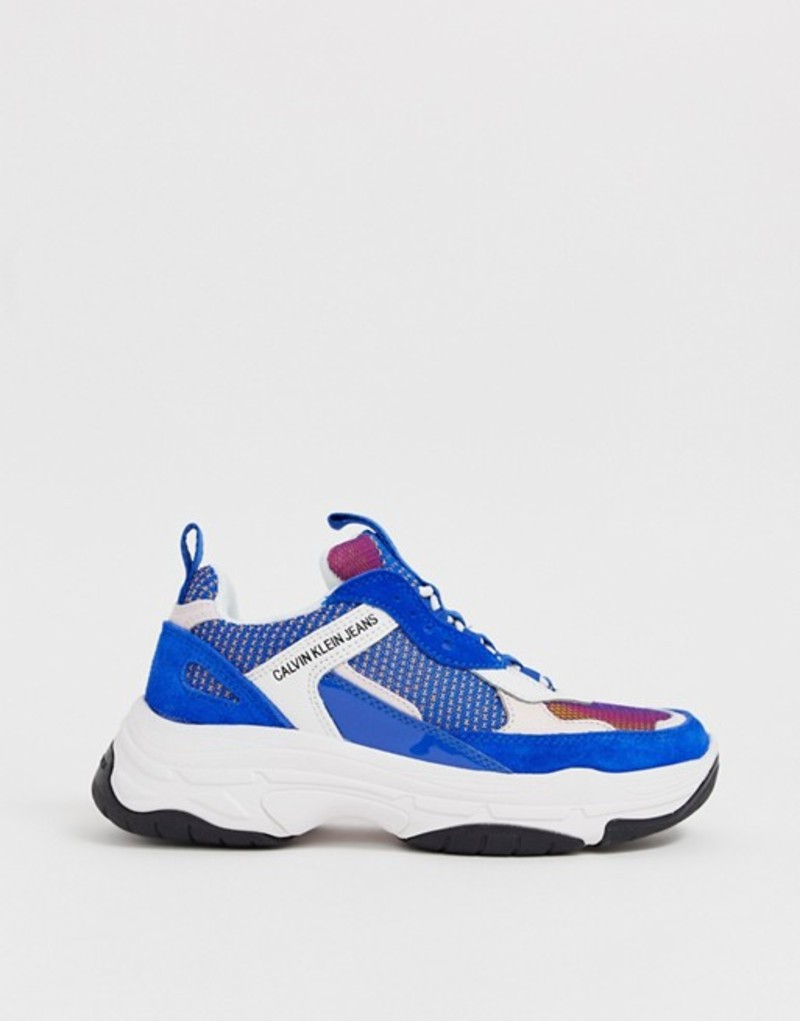 カルバンクライン レディース スニーカー シューズ Calvin Klein Maya blue multi suede chunky sneakers Blue