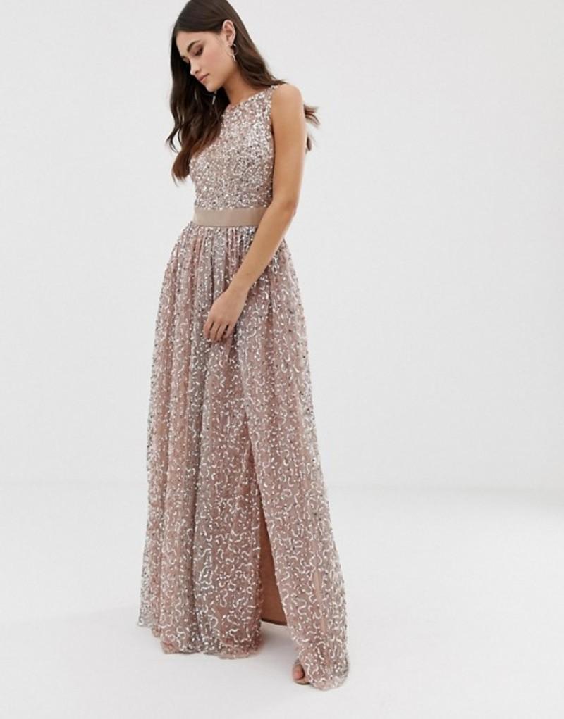 マヤ レディース ワンピース トップス Maya allover contrast tonal delicate sequin dress with satin waist in taupe blush Taupe blush