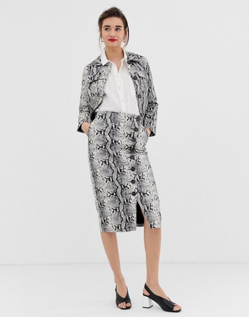ウエアハウス レディース スカート ボトムス Warehouse faux leather midi pencil skirt with button detail in snake print Multi