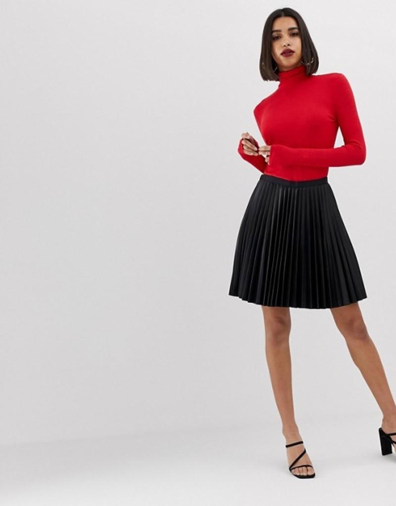 モーガンレーン レディース スカート ボトムス Morgan PU pleated mini skirt in black Black