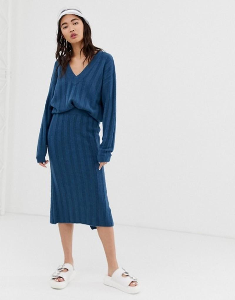 モンキ レディース スカート ボトムス Monki ribbed midi knit skirt in blue two-piece Blue