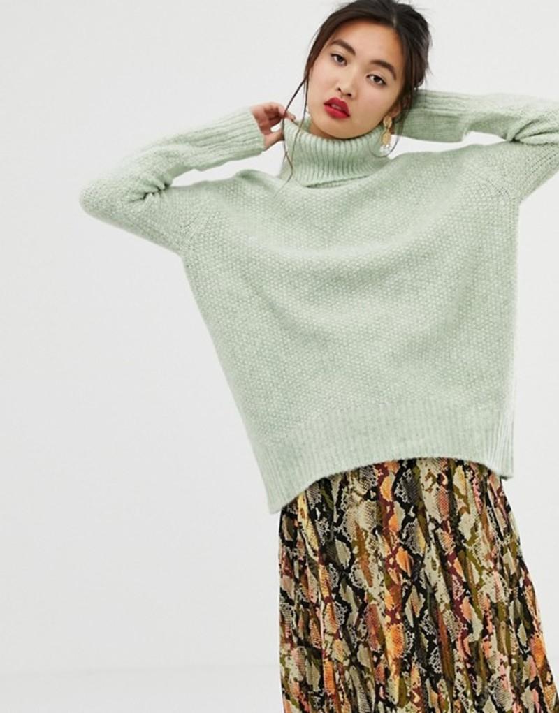 マンゴ レディース ニット・セーター アウター Mango roll neck sweater in green Aqua
