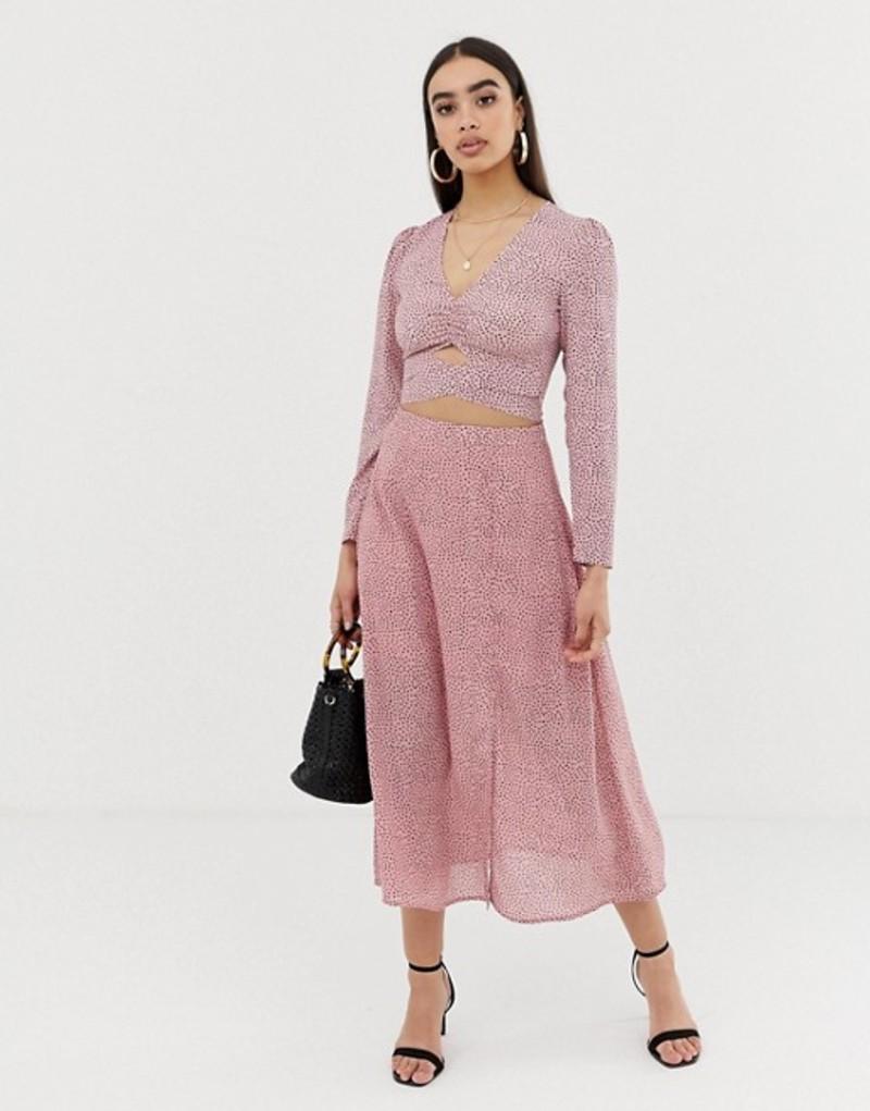 ファッションモンキー レディース スカート ボトムス Fashion Union midi skirt in spot Pink spot