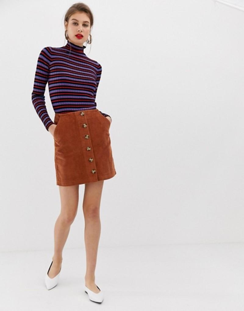 ウエアハウス レディース スカート ボトムス Warehouse a-line cord skirt with button through in rust Rust