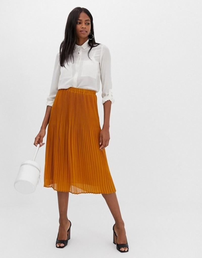 ワイエーエス レディース スカート ボトムス Y.A.S pleated midi skirt Mustard