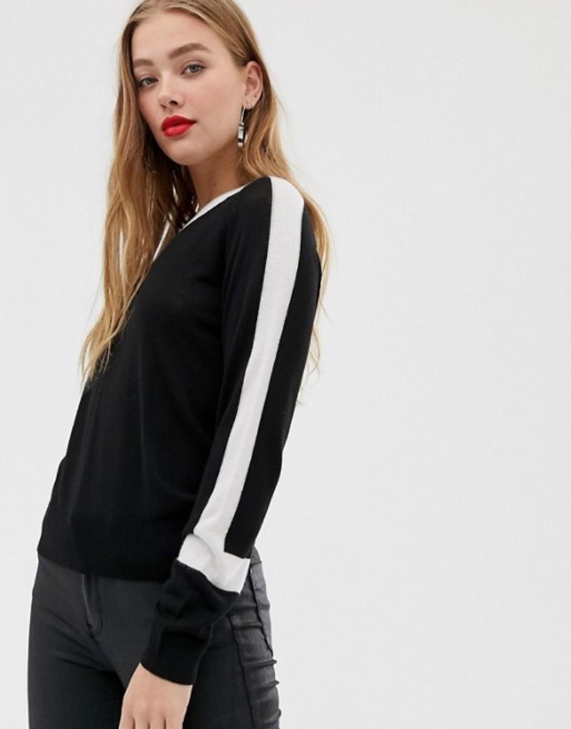 ノイジーメイ レディース ニット・セーター アウター Noisy May color block sweater Black/white