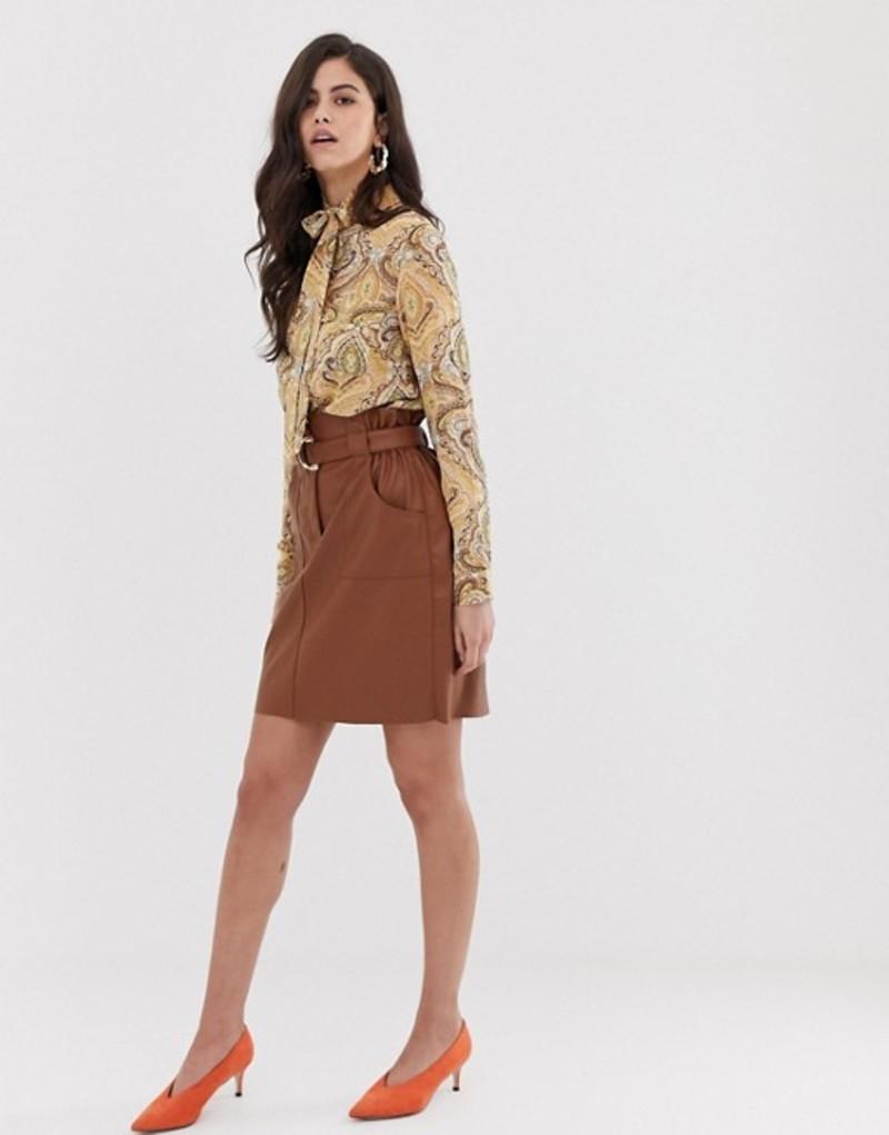 ヴィラ レディース スカート ボトムス Vila faux leather paper bag waist skirt Brown
