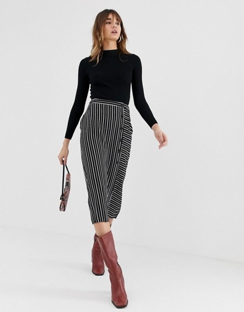 ウエアハウス レディース スカート ボトムス Warehouse midi skirt with button detail in black stripe Black stripe