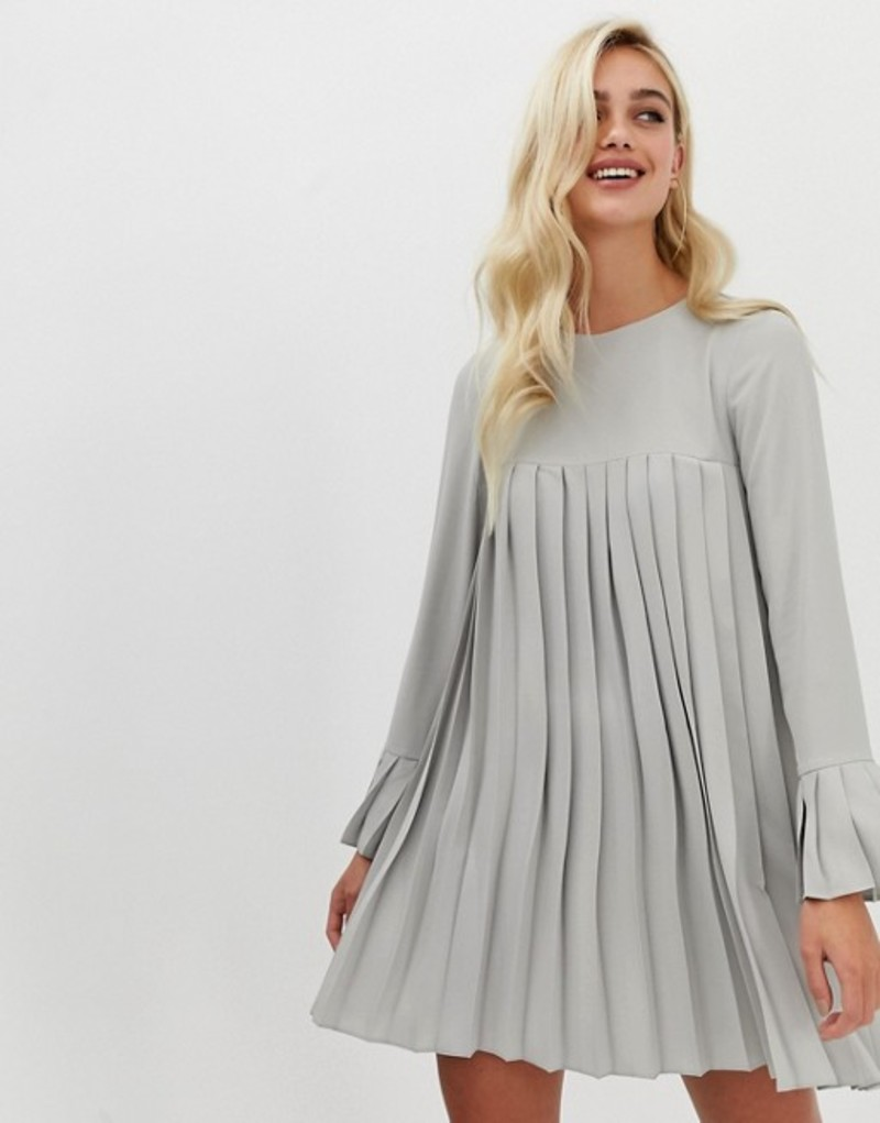 エイソス レディース ワンピース トップス ASOS DESIGN pleated trapeze mini dress with long sleeves Grey