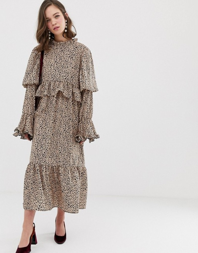 シスタージュン レディース ワンピース トップス Sister Jane midaxi dress with volume sleeves in dalmation spot Beige dalmation