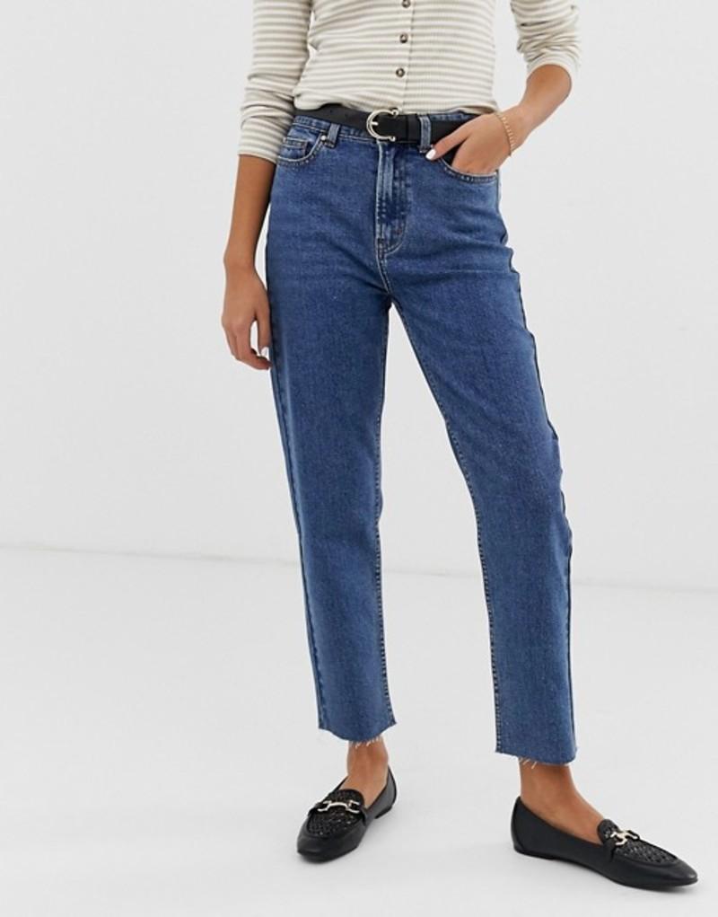 オンリー レディース デニムパンツ ボトムス Only high waisted straight leg jeans Blue