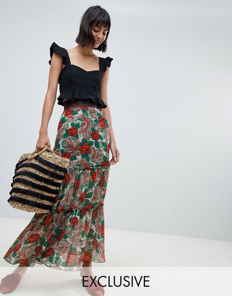 アナスイ レディース スカート ボトムス Anna Sui Exclusive Mexicana Midaxi Skirt Poppy multi