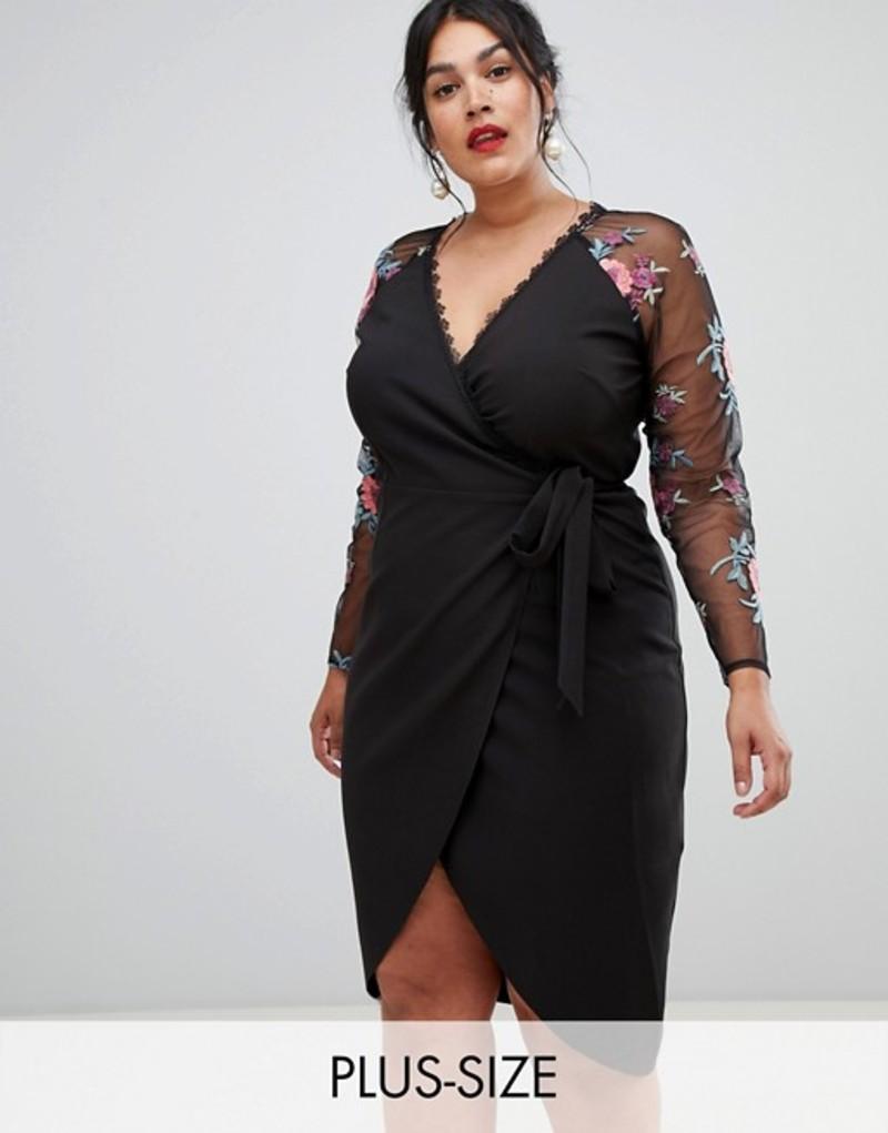 リトルミストレス レディース ワンピース トップス Little Mistress Plus wrapover pencil dress with embroidered sleeve detail Black