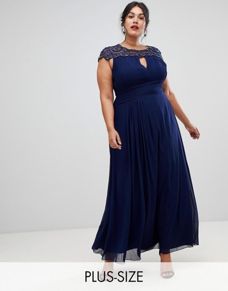 リトルミストレス レディース ワンピース トップス Little Mistress Plus embellished top maxi dress in navy Navy