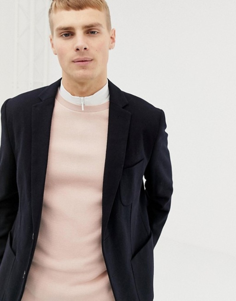 セレクテッドオム メンズ ジャケット・ブルゾン アウター Selected Homme slim fit patch pocket blazer with recycled wool Dark sapphire