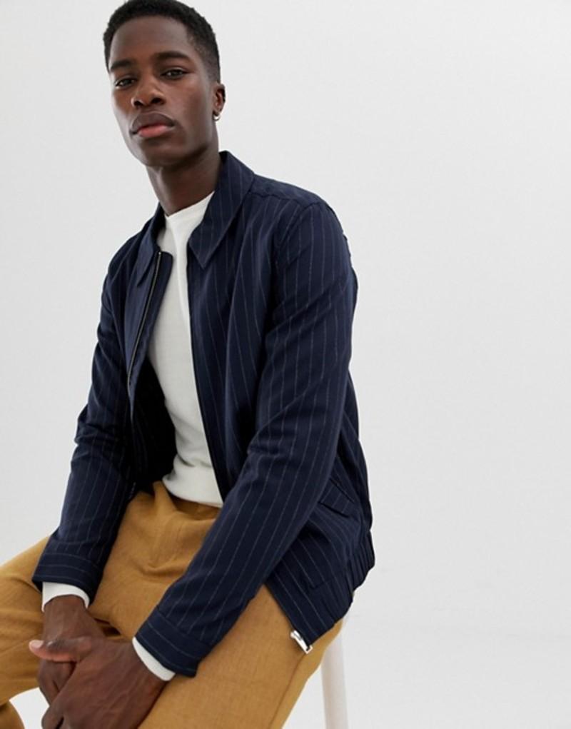 セレクテッドオム メンズ ジャケット・ブルゾン アウター Selected Homme jacket with chalk stripe Dark navy